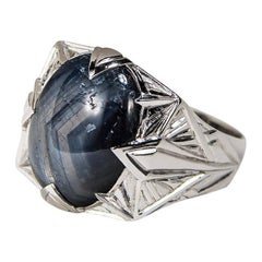 Mens Large Blue Sapphire 14K White Gold Ring Natural Cabochon Gem Shades of Gray