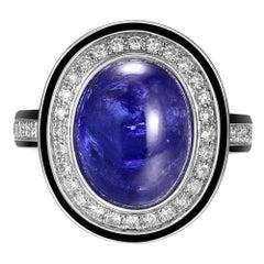7.30 Carat Tanzanite Cabochon Diamond Enamel Ring in 18 Karat White Gold