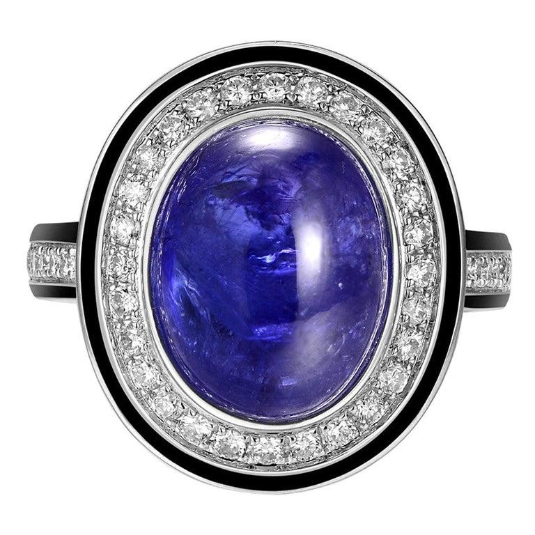 7.30 Carat Tanzanite Cabochon Diamond Enamel Ring in 18 Karat White Gold For Sale