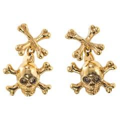 18Kt Pink Gold and Brown Diamonds Skull Cufflinks
