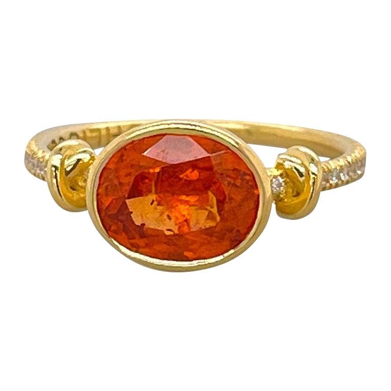 Forget Me Knot Mandarin Garnet Ring in 18ct Yellow Gold