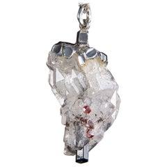 Rock Сrystal Garnet Black Tourmaline Silver Necklace Natural Unique Cluster Mens