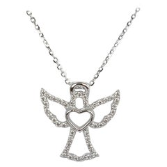 10k 14k 18k Diamond Heart Angel Charm Pendent Necklace