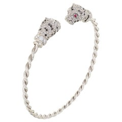 """Contemporary Diamond and Ruby White Gold """"Tiger"""" Cuff Bracelet"""