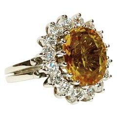 1950s Oval 5 Carat Citrine, 1.12 Carat Diamonds 18k White Gold Cluster Ring