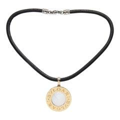 "Bulgari ""Bvlgari"" 18K Yellow Gold Steel Onyx Mother-of-Pearl Pendant Necklace"