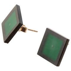 Black Green Agate 9 Karat Gold Stud Square Geometric Modern Chic Earrings