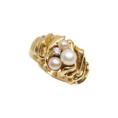 Gilbert Albert 18K Gold Pearl and Diamond Ring