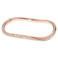 David Morris 18 Karat Rose Gold & Diamond Twist Bangle 1.73ct