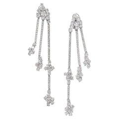 David Morris White Diamond Three Row Linear Tassel Earrings 11.87ct
