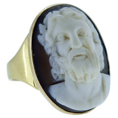 Antique Cameo Ring with Classical Male Head in Slight Profile, Yellow Gold