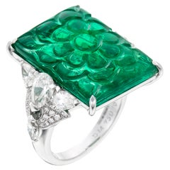 David Morris GRS Certified 15.30ct Carved Emerald & Diamond Cocktail Ring