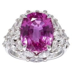 David Morris GRS Certified 8.54ct Oval Pink Sapphire & Diamond Cocktail Ring