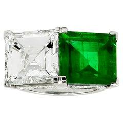 Tiffany & Co. Diamond, Emerald Twin Ring