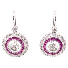 2.61ct Diamond & Ruby Art Deco Style Drop Earrings 18k White Gold