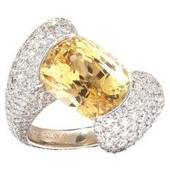 David Morris PSL Certified 9.18ct Yellow Oval Sapphire & Diamond Cocktail Ring