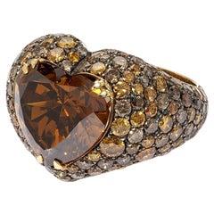 David Morris GIA Certified 7.08ct Brown Heart Shaped Diamond Cocktail Ring