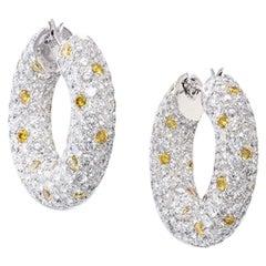 David Morris Pave Diamond & Yellow Sapphire Set Hoop Earrings