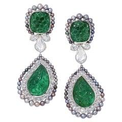 David Morris Carved Emerald, Diamond & Black Pearl SSEF Certified Drop Earrings