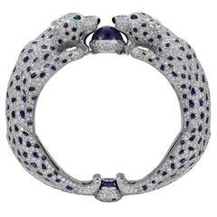 Cartier Diamond, Sapphire Two Panther Head Bracelet