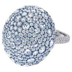 David Morris Domed Rose Cut Diamond Set and Blue Titanium Cocktail Ring