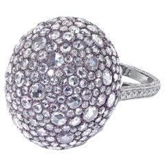 David Morris Domed Rose Cut Diamond Set and Pink Titanium Cocktail Ring