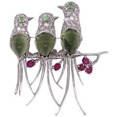Diamond Ruby Green Tourmaline Three Bird 14 Karat White Gold Estate Brooch Pin