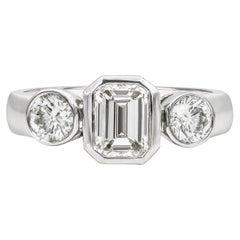 Roman Malakov, Bezel Set Emerald Cut Diamond Three-Stone Engagement Ring