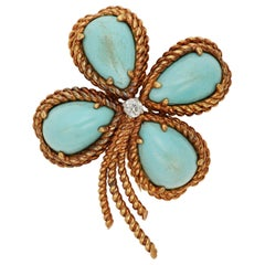 Fantastic Van Cleef and Arpels VCA Turquoise and Diamond Clover Brooch