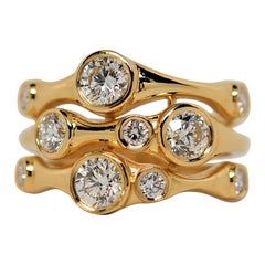 Diamond Bubble Ring Set in 18k Yellow Gold, 1.38 Carats