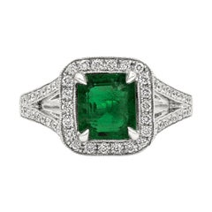 1.68 Carat Emerald and Diamond Halo Split-Shank Engagement Ring