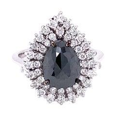 3.01 Carat Black and White Diamond Double Halo 14 Karat White Gold Bridal Ring