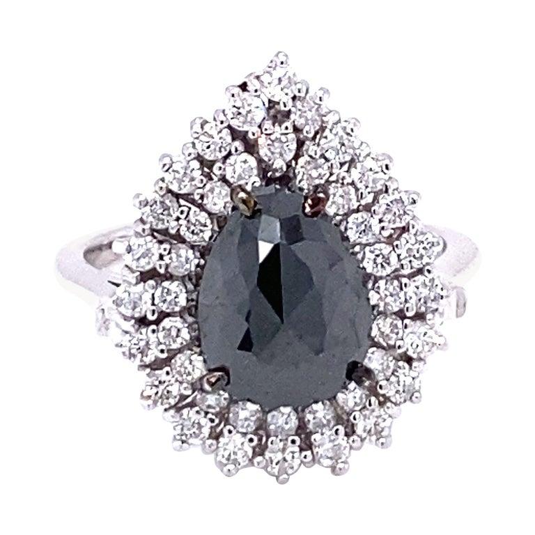 3.01 Carat Black and White Diamond Double Halo 14 Karat White Gold Bridal Ring For Sale