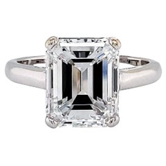 GIA Certified 4.32 Carat E Color Diamond Engagement Ring