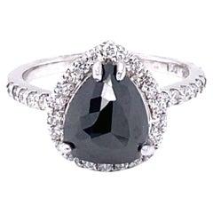 2.92 Carat Black and White Diamond Halo 14 Karat White Gold Engagement Ring
