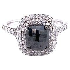 2.49 Carat Black White Diamond Double Halo 14 Karat White Gold Engagement Ring