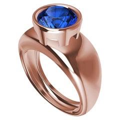 18 Karat Rose Gold  Blue Sapphire 2.69 Carat Sculpture Ring