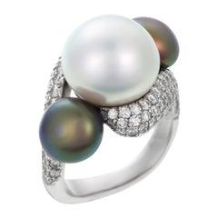 David Morris Platinum Black & White Pearl with Diamond Setting Cocktail Ring