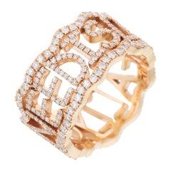 David Morris 18 Karat Rose Gold & Diamond 'All You Need Is Love' Ring
