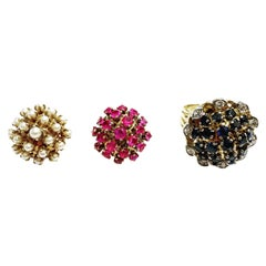 1950s Interchangeable 18kt Gold, Diamond, Pearls, Ruby, Sapphire Fashion Ring
