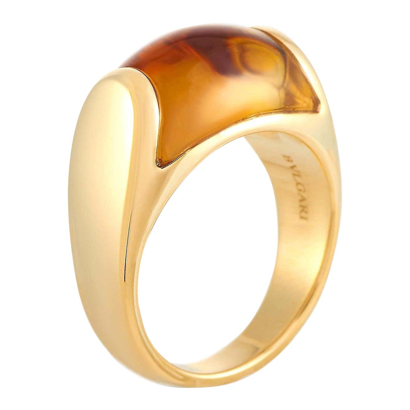 Bvlgari Bulgari Tronchetto 18 Karat Yellow Gold Orange Citrine Ring with Box