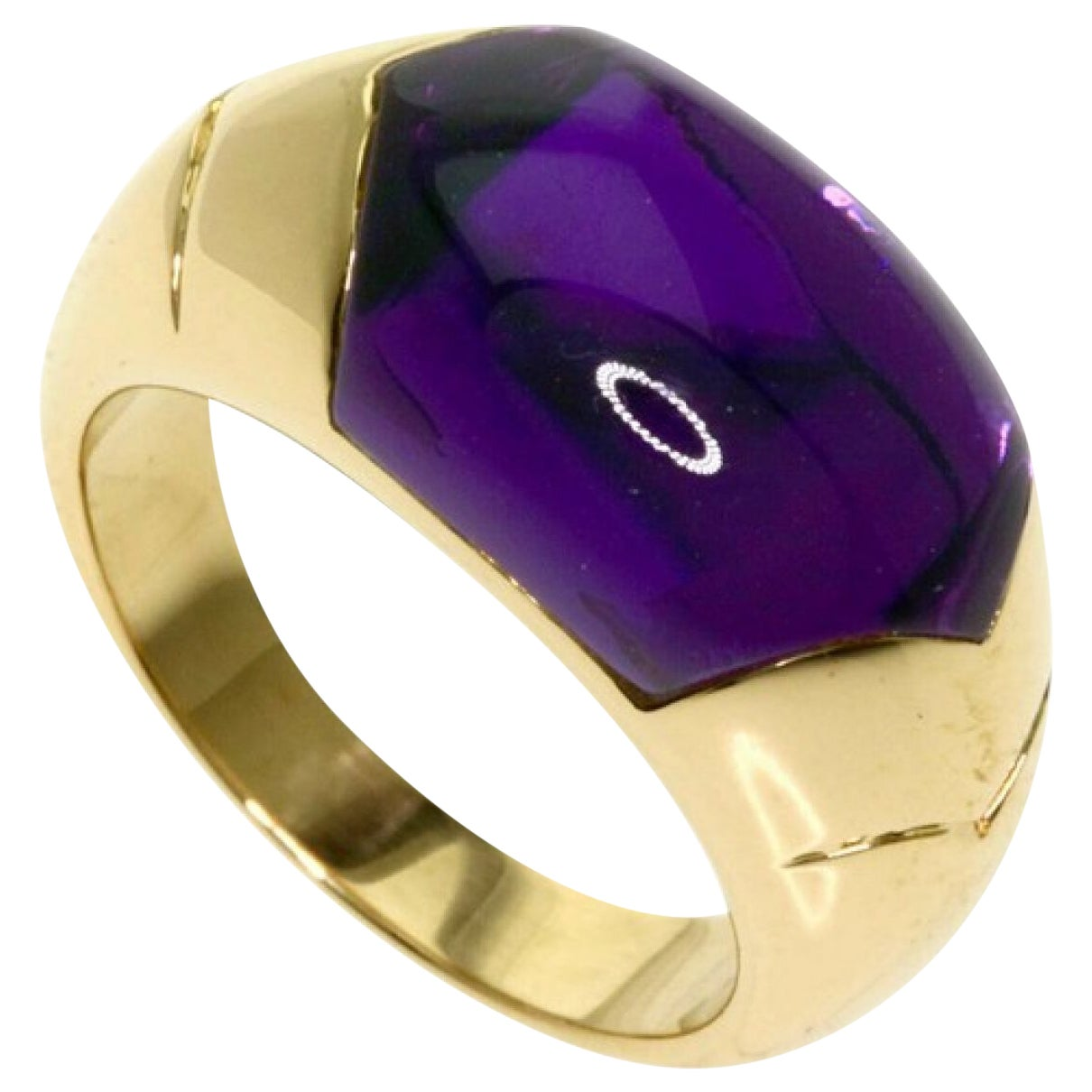 Rare Bvlgari Bulgari Deep Purple Amethyst Certica 18 Karat Yellow Gold Ring