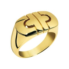 Vintage Bvlgari Parentesi Tubogas 18k Yellow Gold 'Signet Style' Italian Ring