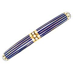 Antique 14 Karat Gold Blue Enamel Pearl Bangle Bracelet by Riker Brothers