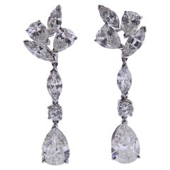 Mid Century 7 Carat Diamond Platinum Drop Earrings