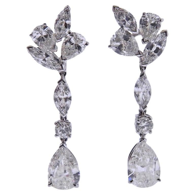 Mid Century 7 Carat Diamond Platinum Drop Earrings For Sale