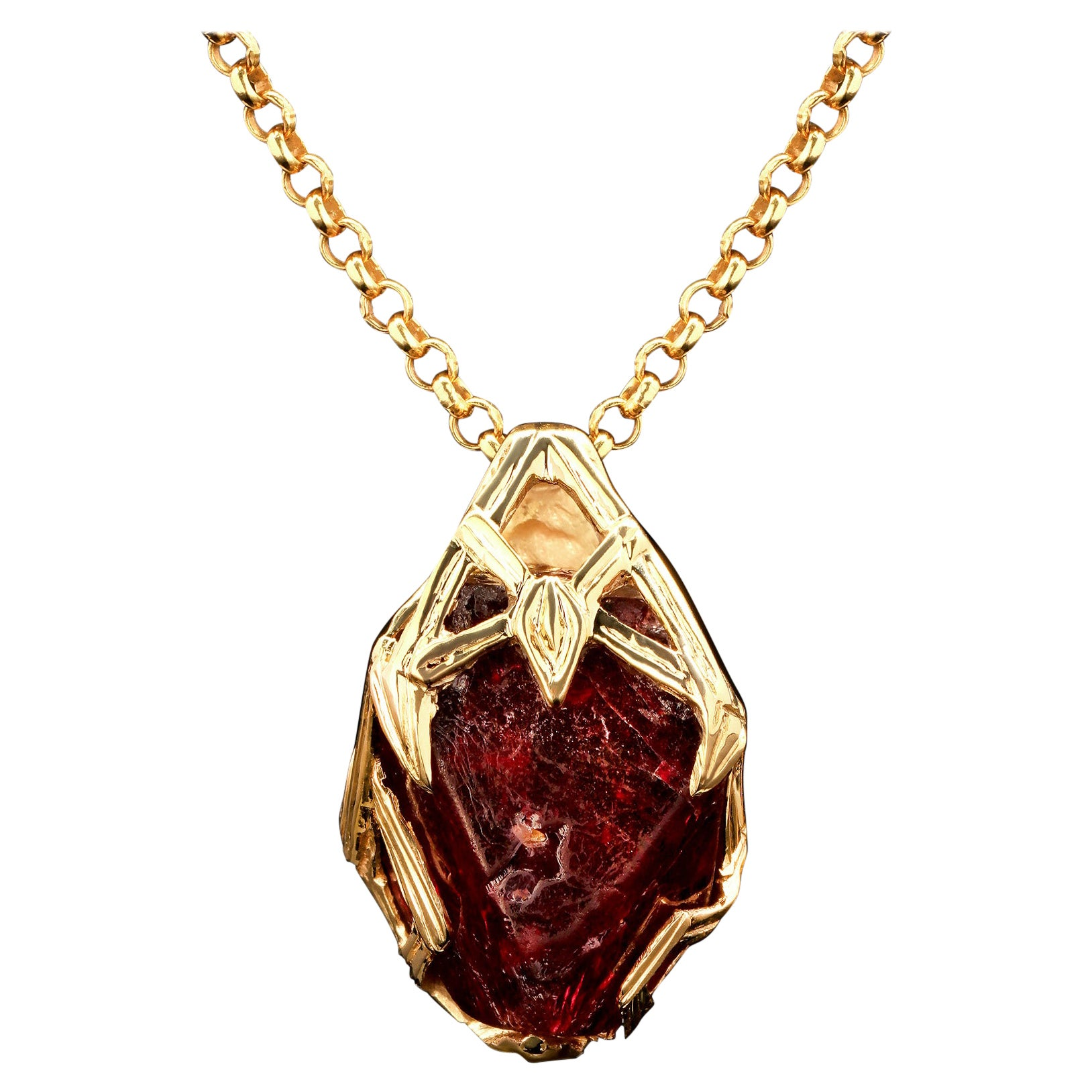 Red Spinel Crystal 18K Yellow Gold Pendant Dark Cherry Natural Raw Uncut Stone