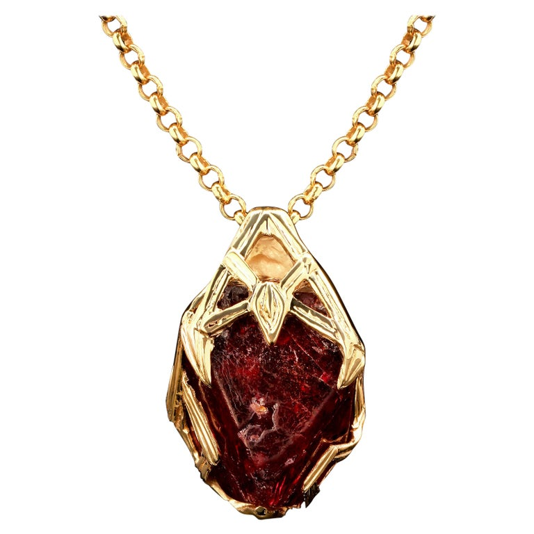 Red Spinel Crystal 18K Yellow Gold Pendant Dark Cherry Natural Raw Uncut Stone For Sale