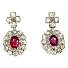 Antique Edwardian Platinum Diamond Burma Ruby Dangle Earrings