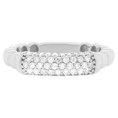 Round Diamond Ball Bead Stackable Band Ring 14K White Gold Modern Fashion